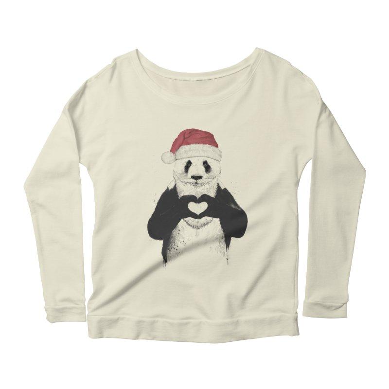 Santa panda Women's Longsleeve Scoopneck  by Balazs Solti