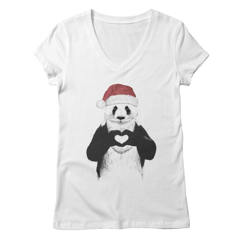 Santa panda Women's V-Neck by Balazs Solti