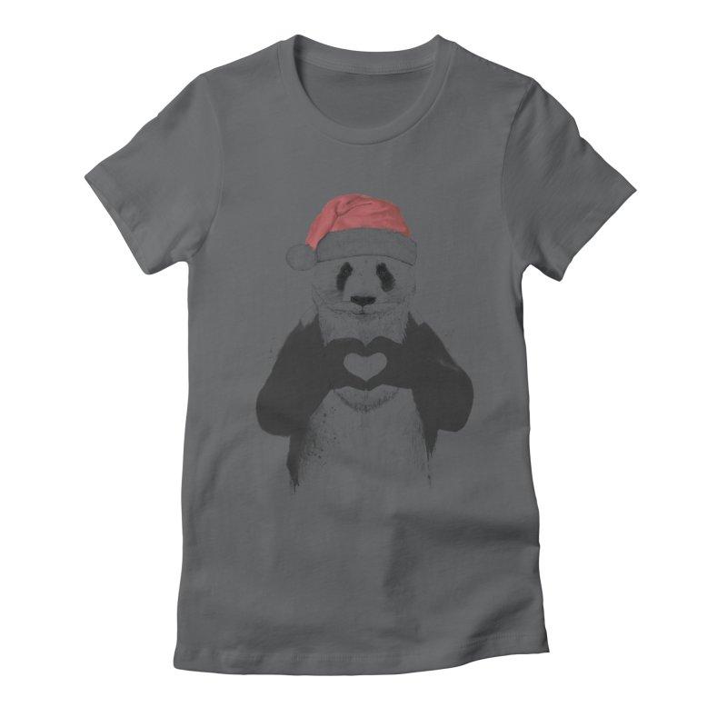 Santa panda Women's Fitted T-Shirt by Balazs Solti