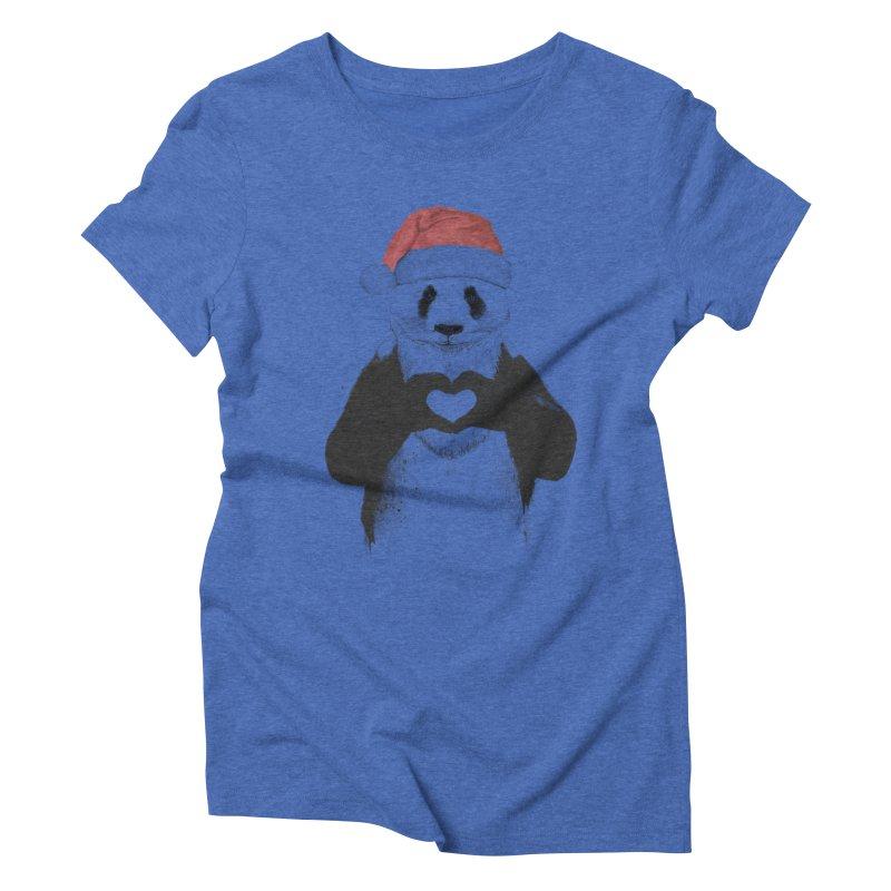Santa panda Women's Triblend T-Shirt by Balazs Solti