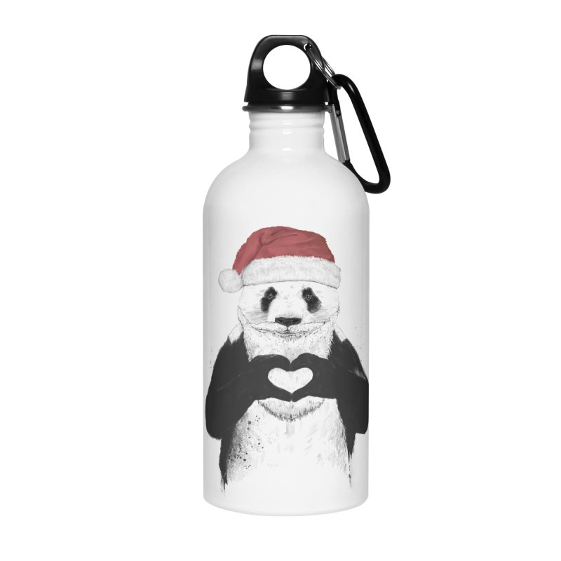 Santa panda Accessories Water Bottle by Balazs Solti