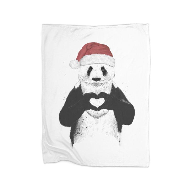 Santa panda Home Blanket by Balazs Solti