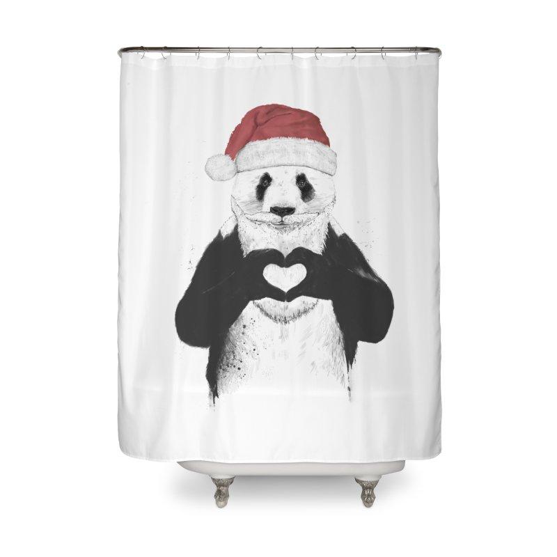 Santa panda Home Shower Curtain by Balazs Solti