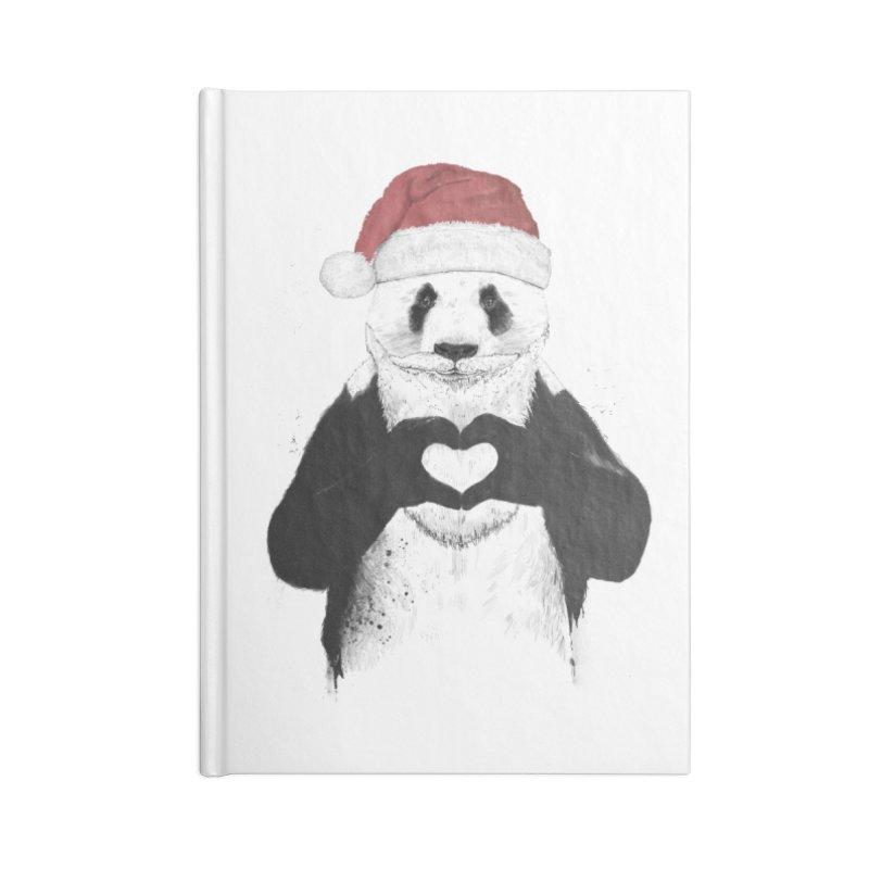 Santa panda Accessories Blank Journal Notebook by Balazs Solti
