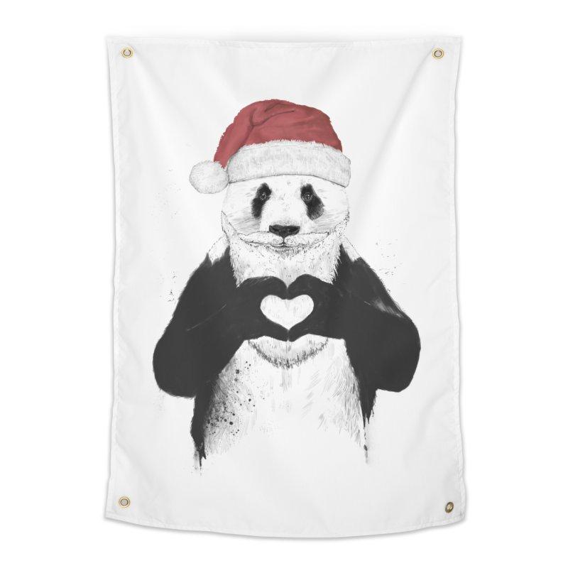 Santa panda Home Tapestry by Balazs Solti