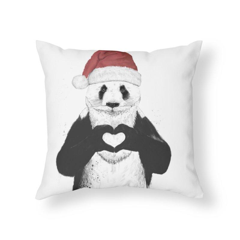 Santa panda Home Throw Pillow by Balazs Solti