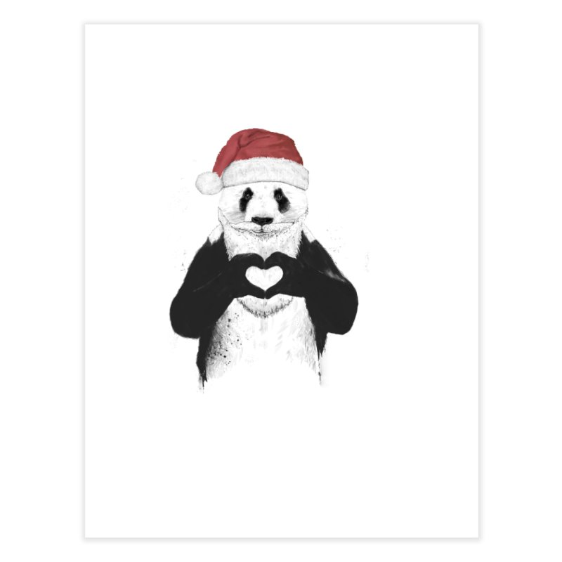 Santa panda Home Fine Art Print by Balazs Solti
