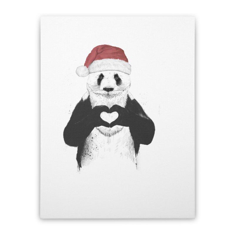 Santa panda Home Stretched Canvas by Balazs Solti