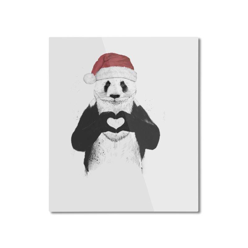 Santa panda Home Mounted Aluminum Print by Balazs Solti