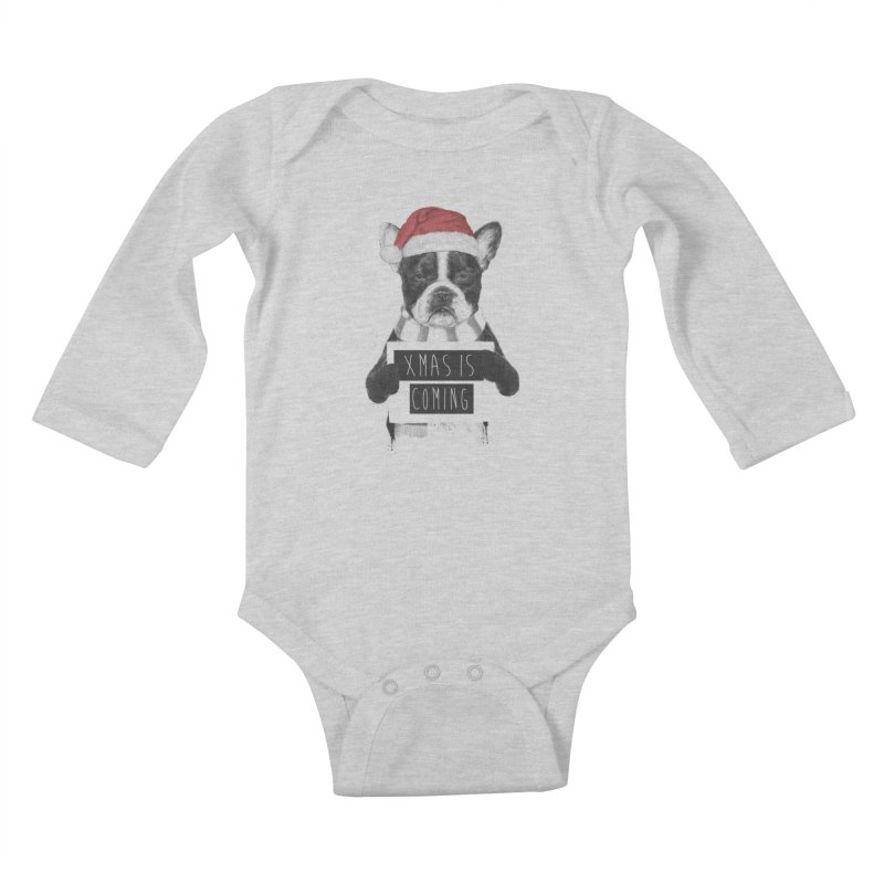 Xmas is coming Kids Baby Longsleeve Bodysuit by Balazs Solti