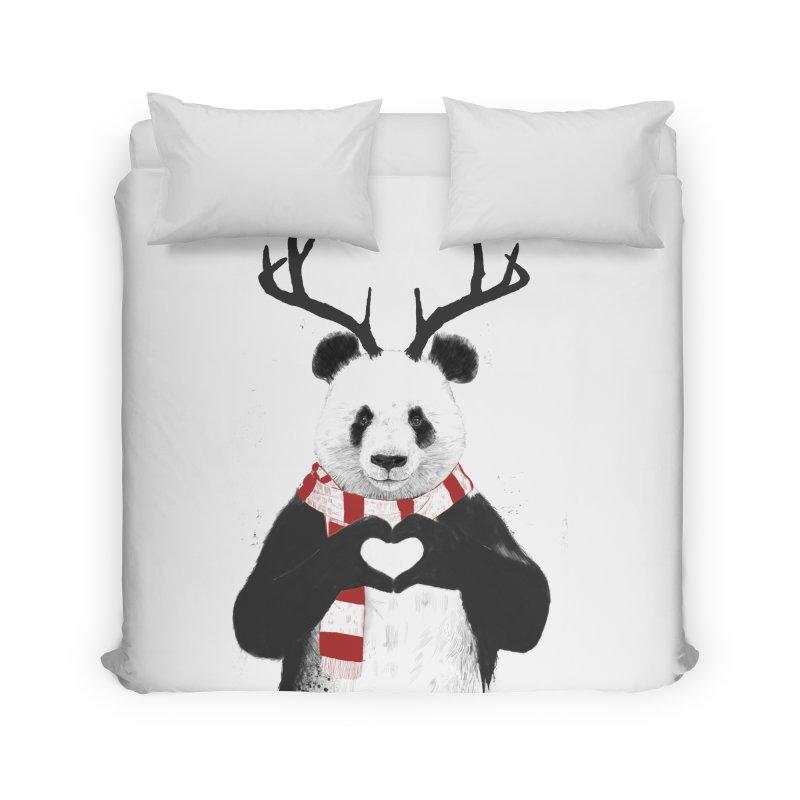 Xmas panda Home Duvet by Balazs Solti