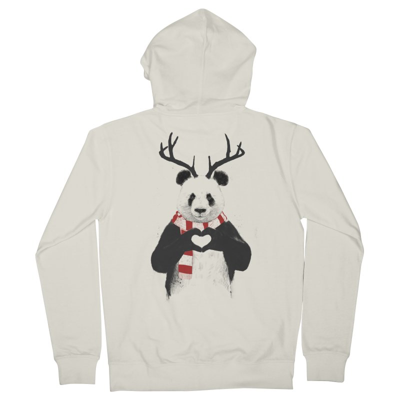 Xmas panda Women's Zip-Up Hoody by Balazs Solti