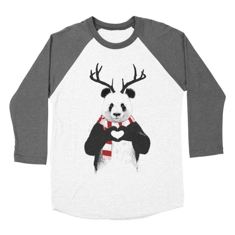Xmas panda Women's Baseball Triblend Longsleeve T-Shirt by Balazs Solti