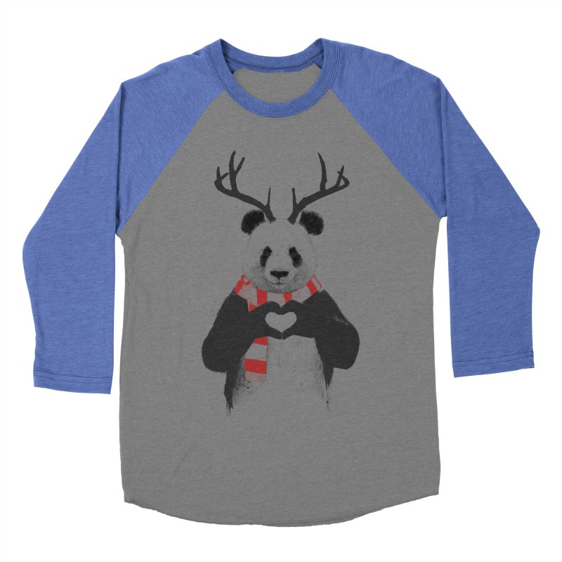 Xmas panda Men's Baseball Triblend T-Shirt by Balazs Solti