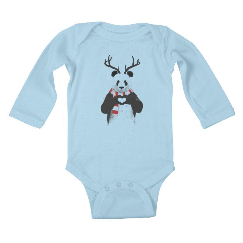 Xmas panda Kids Baby Longsleeve Bodysuit by Balazs Solti