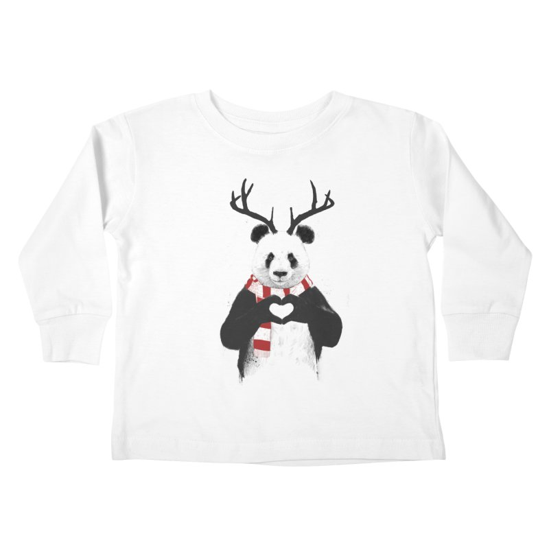 Xmas panda Kids Toddler Longsleeve T-Shirt by Balazs Solti