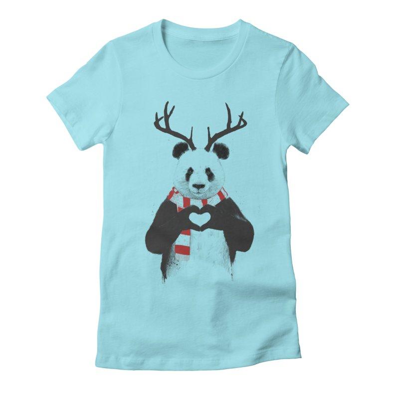 Xmas panda Women's Fitted T-Shirt by Balazs Solti