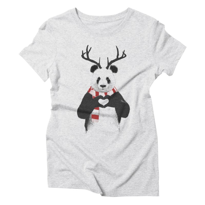 Xmas panda Women's Triblend T-Shirt by Balazs Solti