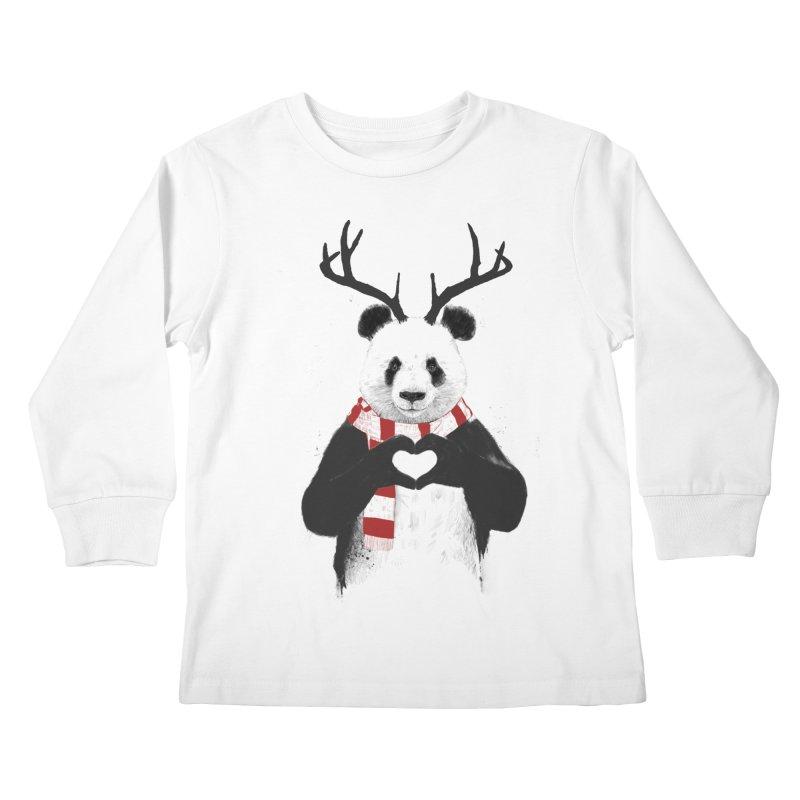 Xmas panda Kids Longsleeve T-Shirt by Balazs Solti