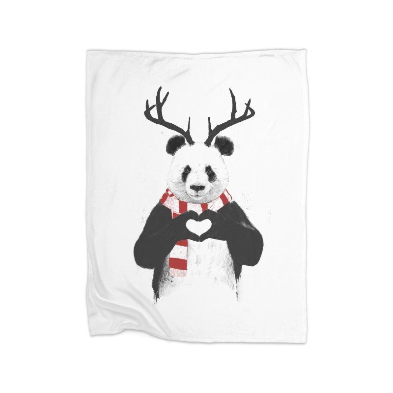 Xmas panda Home Blanket by Balazs Solti