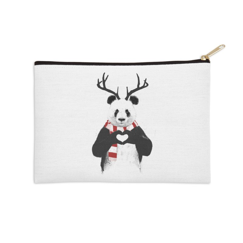 Xmas panda Accessories Zip Pouch by Balazs Solti