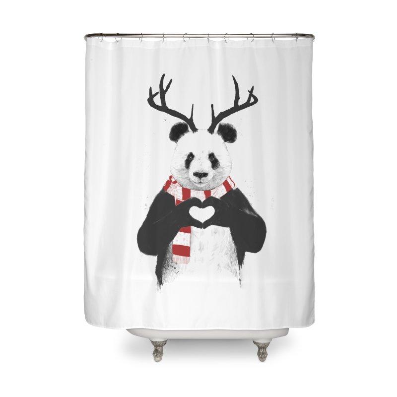 Xmas panda Home Shower Curtain by Balazs Solti