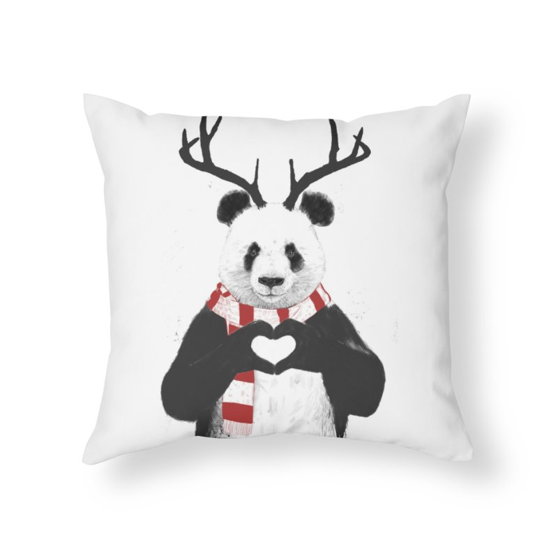 Xmas panda Home Throw Pillow by Balazs Solti