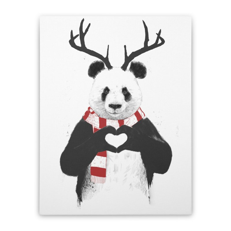Xmas panda Home Stretched Canvas by Balazs Solti