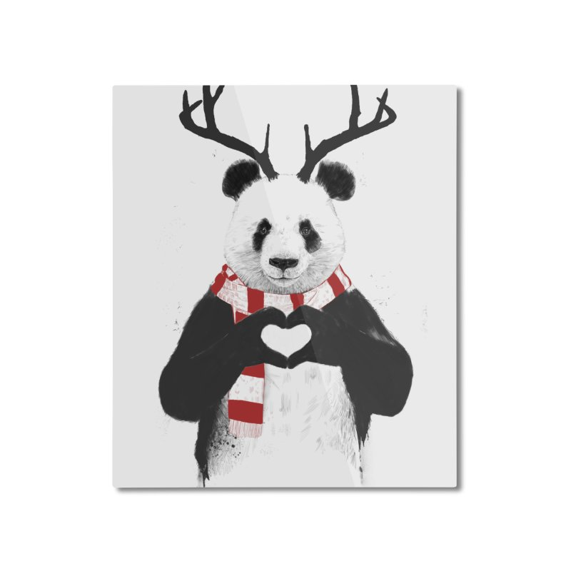 Xmas panda Home Mounted Aluminum Print by Balazs Solti
