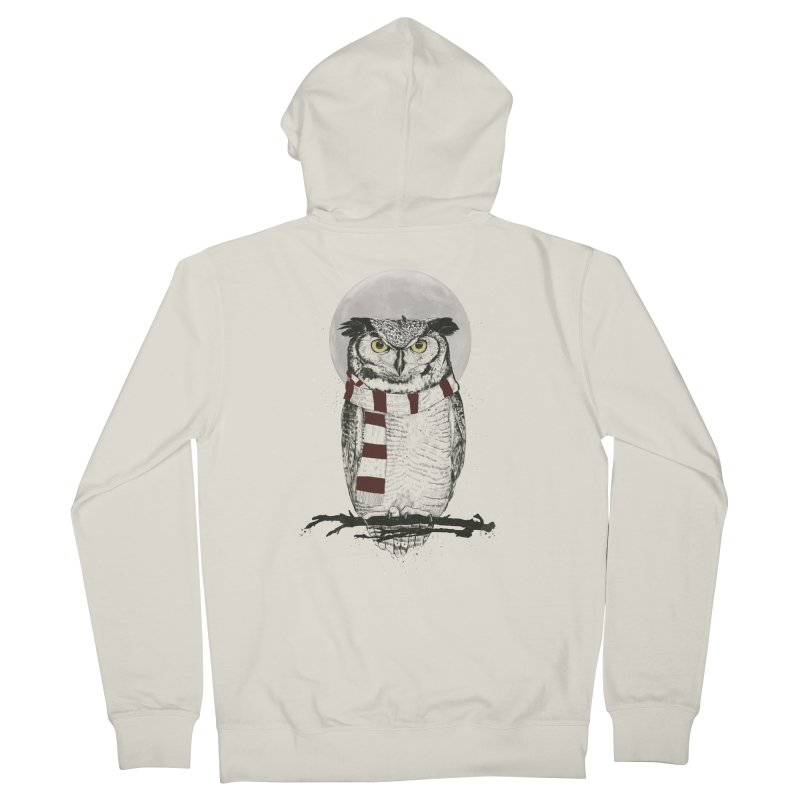 Winter owl Men's Zip-Up Hoody by Balazs Solti