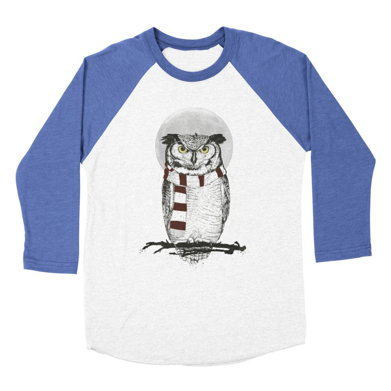 Winter owl Women's Baseball Triblend T-Shirt by Balazs Solti