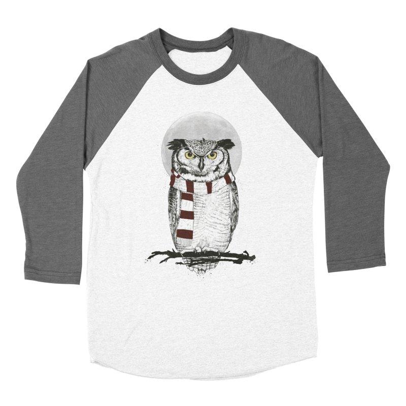 Winter owl Women's Baseball Triblend Longsleeve T-Shirt by Balazs Solti