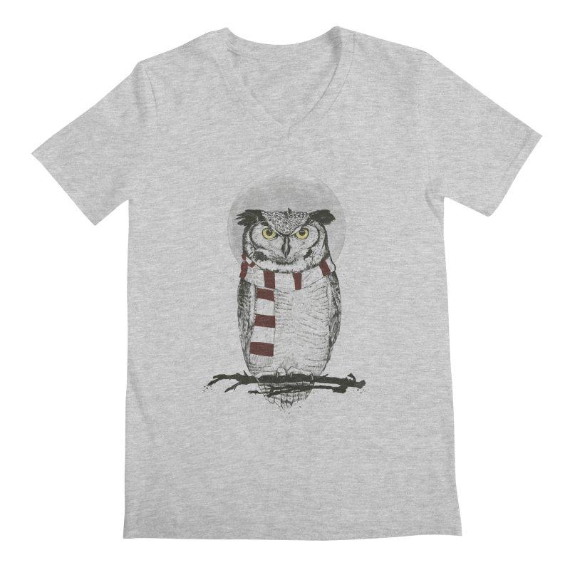 Winter owl Men's V-Neck by Balazs Solti