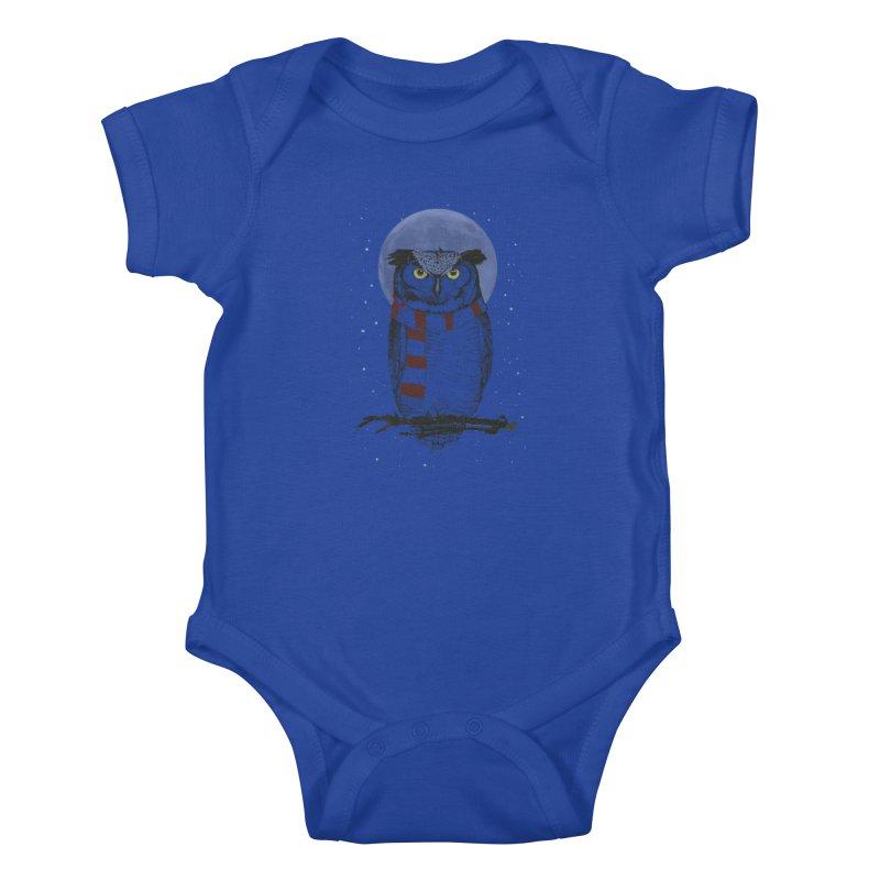 Winter owl Kids Baby Bodysuit by Balazs Solti