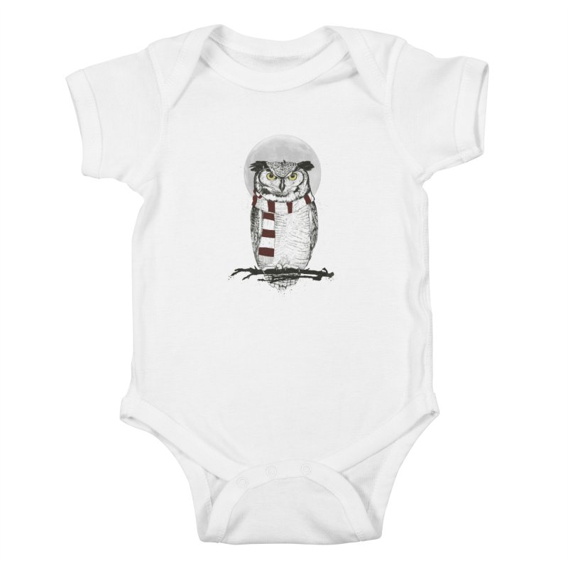 Winter owl Kids Baby Bodysuit by Balazs Solti
