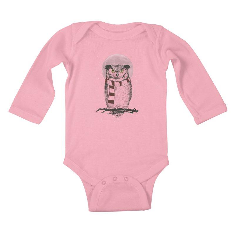 Winter owl Kids Baby Longsleeve Bodysuit by Balazs Solti