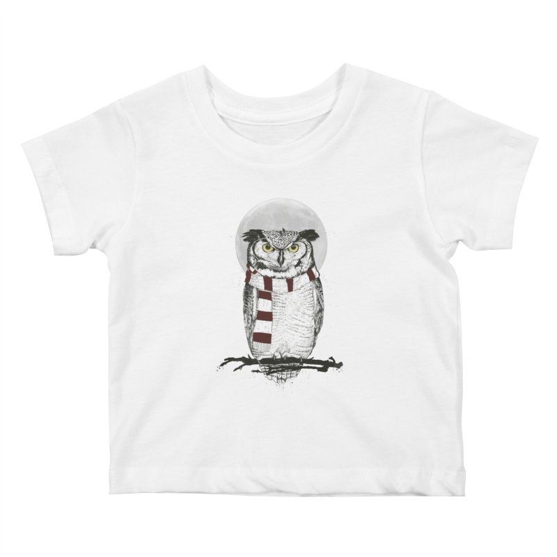 Winter owl Kids Baby T-Shirt by Balazs Solti
