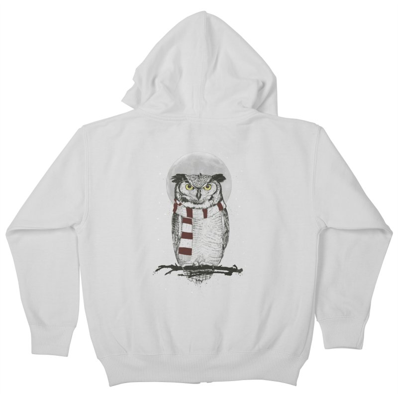 Winter owl Kids Zip-Up Hoody by Balazs Solti