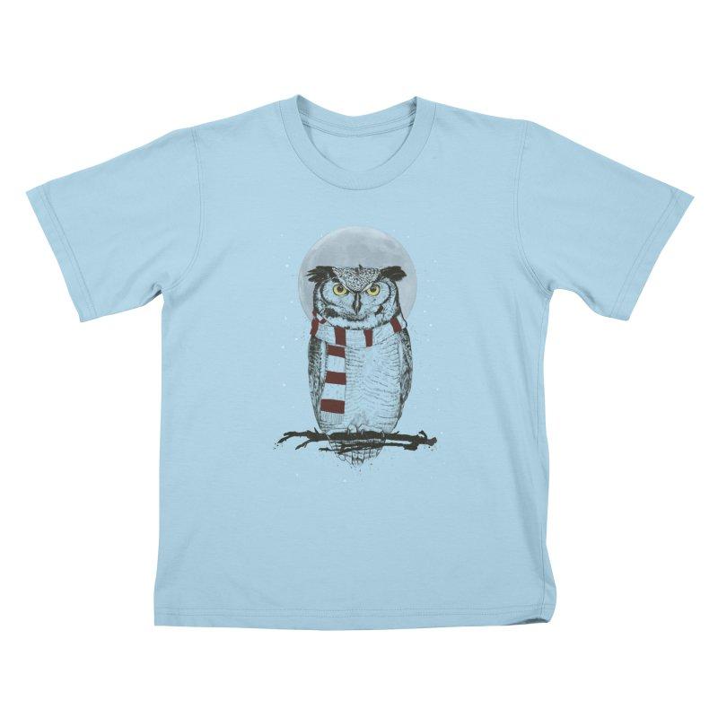 Winter owl Kids T-Shirt by Balazs Solti
