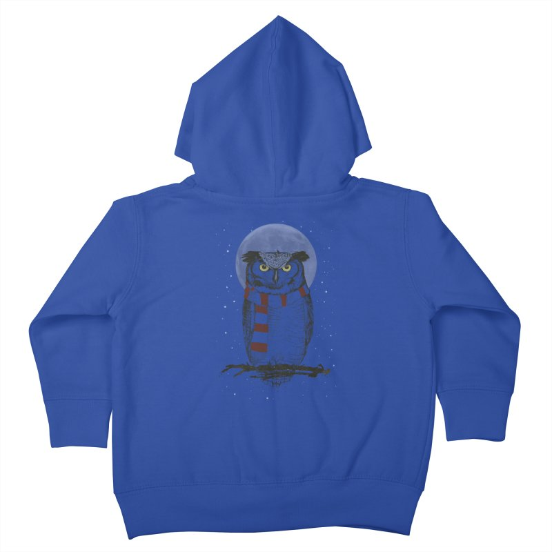 Winter owl Kids Toddler Zip-Up Hoody by Balazs Solti