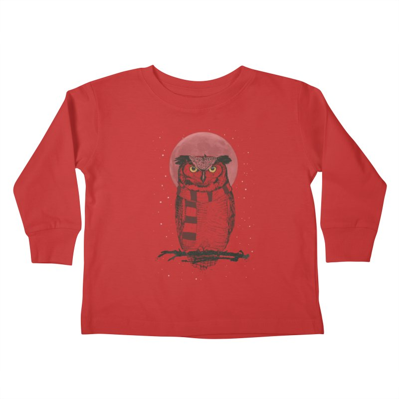 Winter owl Kids Toddler Longsleeve T-Shirt by Balazs Solti