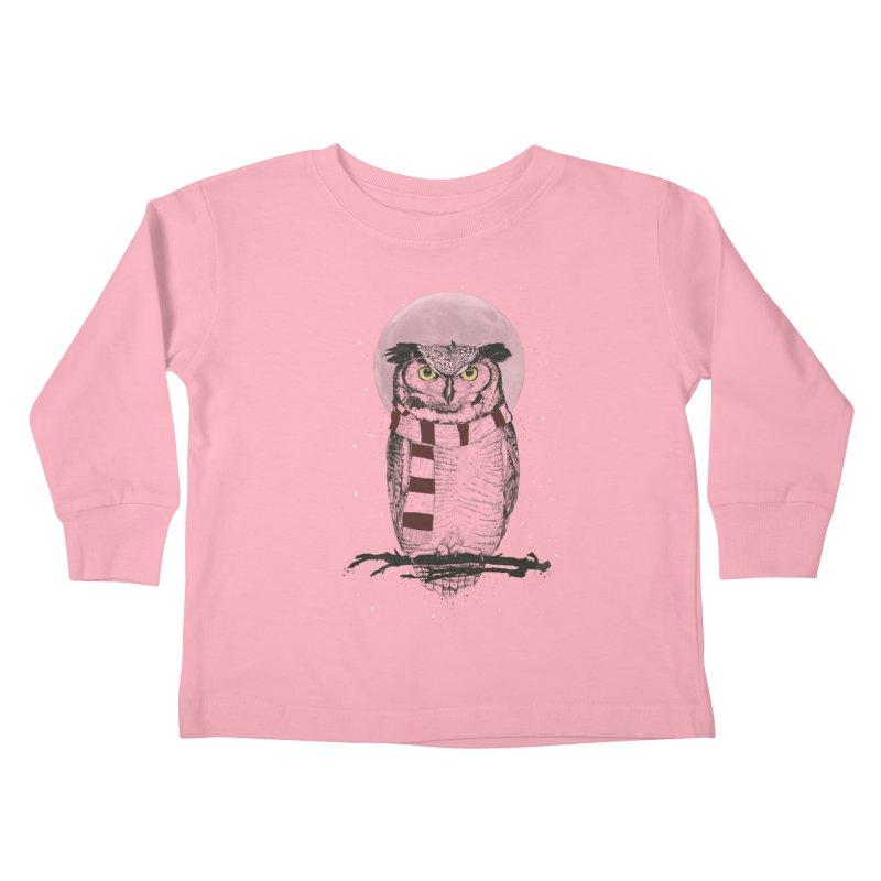 Winter owl Kids Toddler Longsleeve T-Shirt by Balazs Solti