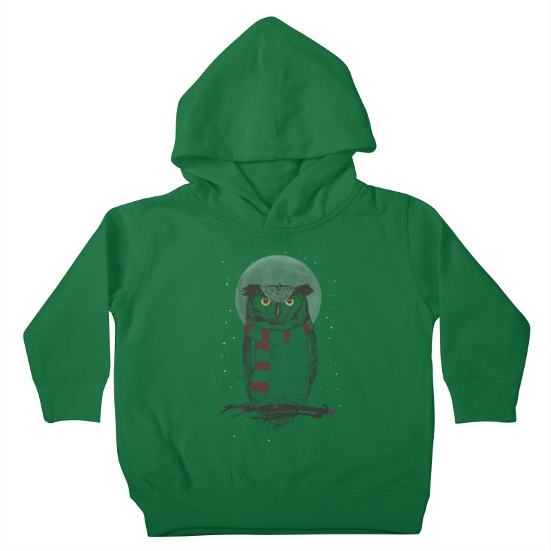 Winter owl Kids Toddler Pullover Hoody by Balazs Solti