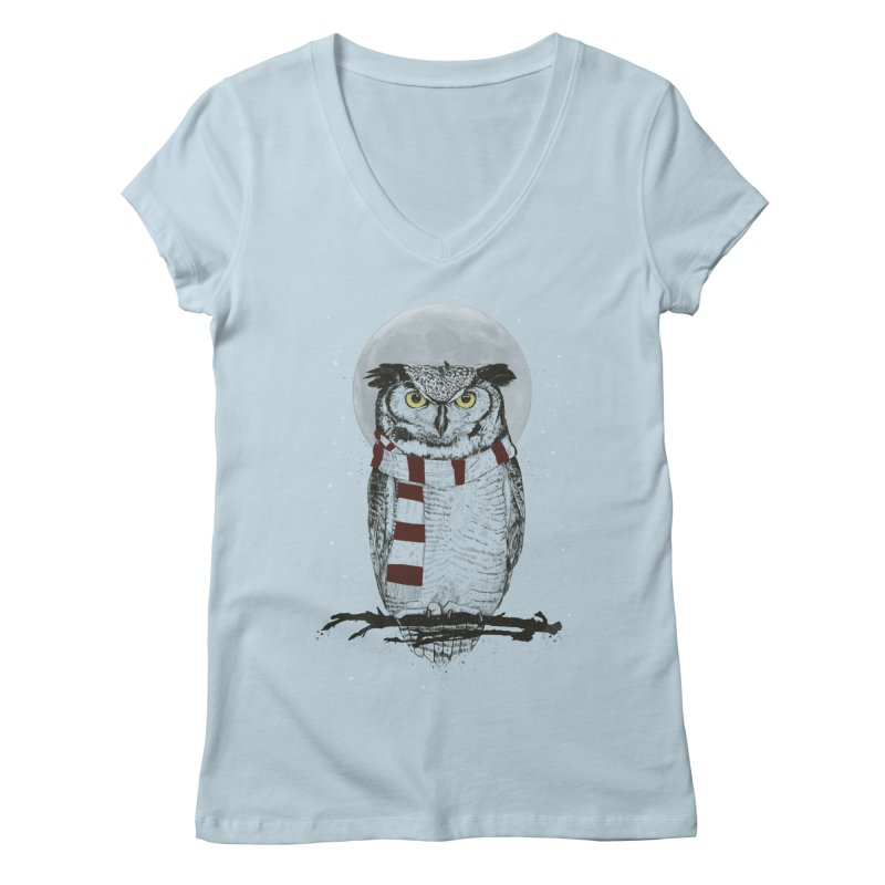 Winter owl Women's V-Neck by Balazs Solti