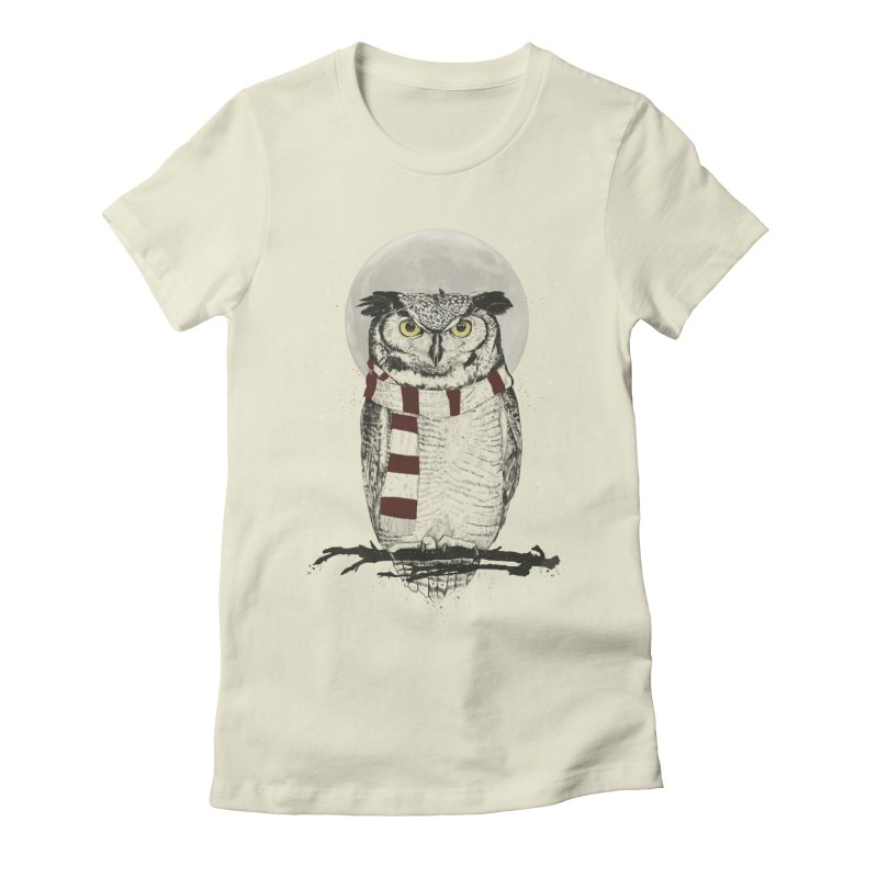 Winter owl Women's Fitted T-Shirt by Balazs Solti
