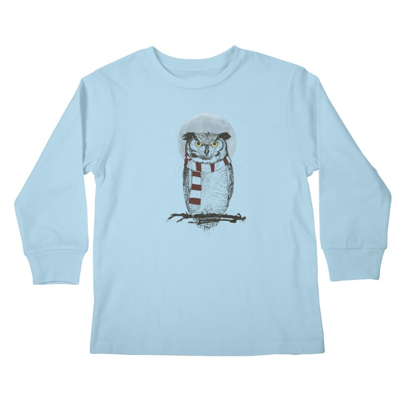 Winter owl Kids Longsleeve T-Shirt by Balazs Solti