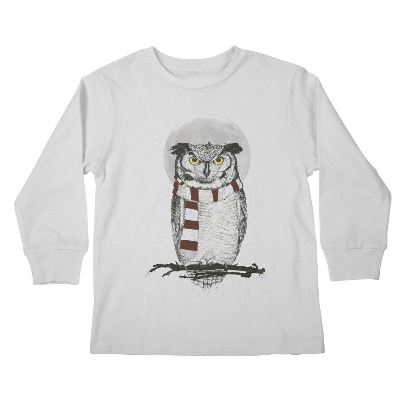 Winter owl Kids Longsleeve T-Shirt by Balazs Solti