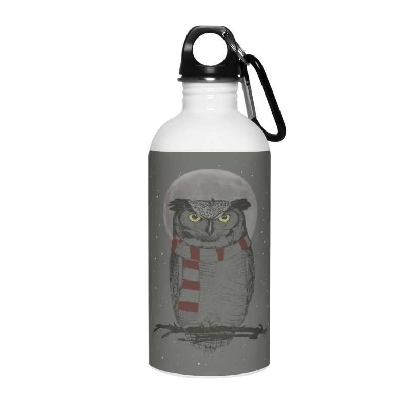 Winter owl Accessories Water Bottle by Balazs Solti