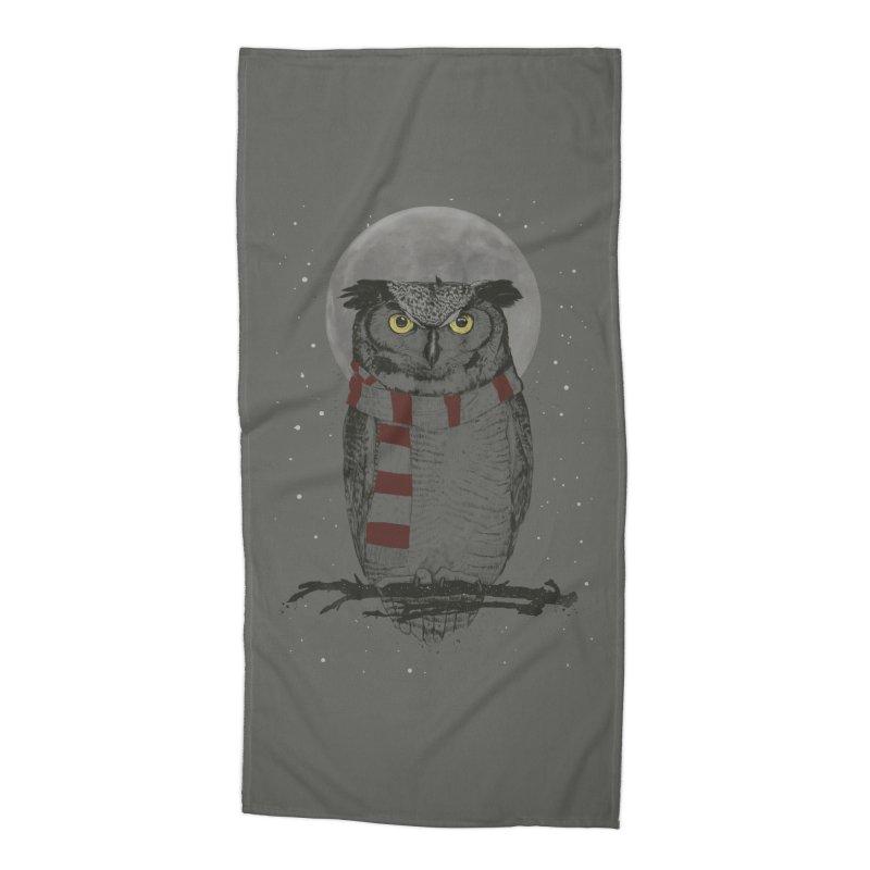 Winter owl Accessories Beach Towel by Balazs Solti