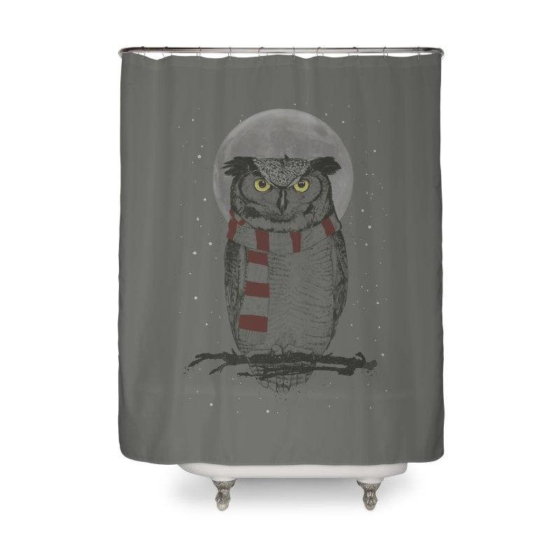 Winter owl Home Shower Curtain by Balazs Solti